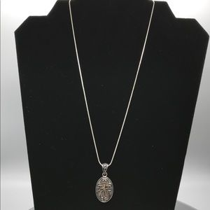 "Silver 17.5"" Rope Chain with Ornate Cross Pendant"